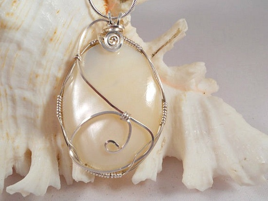 Wire Wrapped Handmade Jewelry, Mother of Pearl Pendant. $21.00, via Etsy.