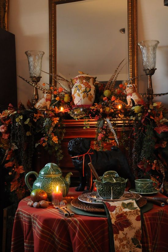 fall mantel and table