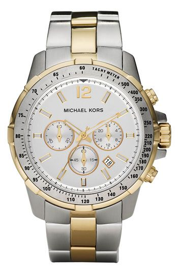 Michael Kors 'Grayson' Round Chronograph Bracelet Watch available at #Nordstrom- this looks almost exactly like mine but I don't have the small second/minute numbers on the outer rim