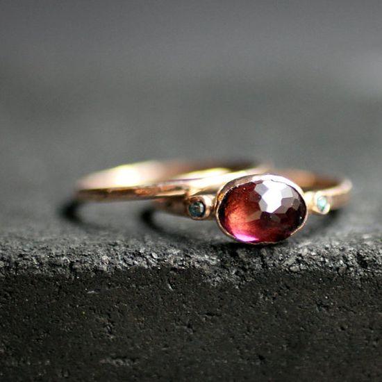 Shireen - Pink Tourmaline & Rose Cut Sky Blue Diamonds Rose Gold