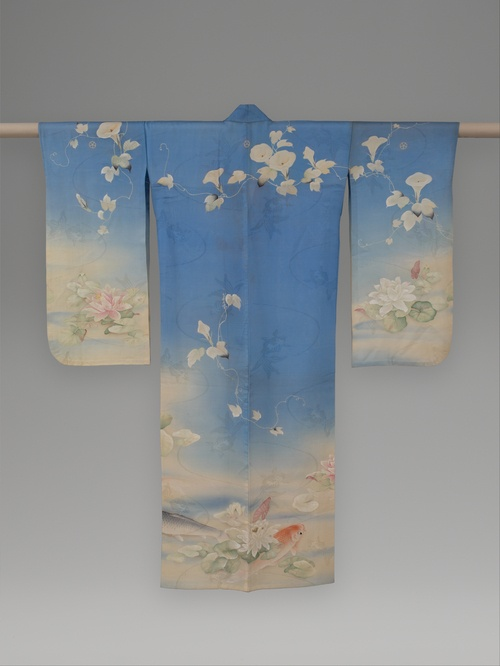 Summer Kimono with Carp, Water Lilies, and Morning Glories