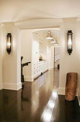 wooden floors, white wall contrast...very clean look