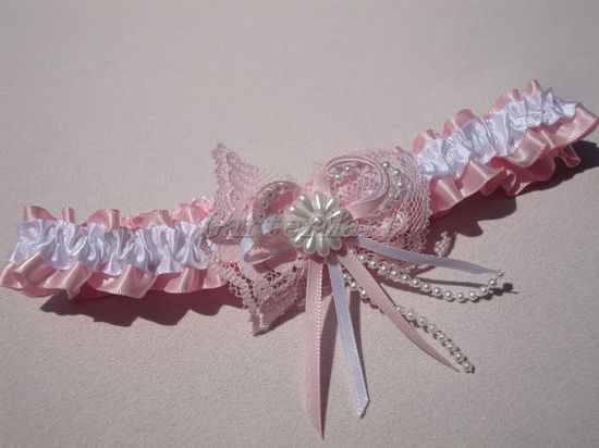 Pink #Garter Pink and White  Ribbon garter with lace by GarterMart, $9.00 #weddings #brides
