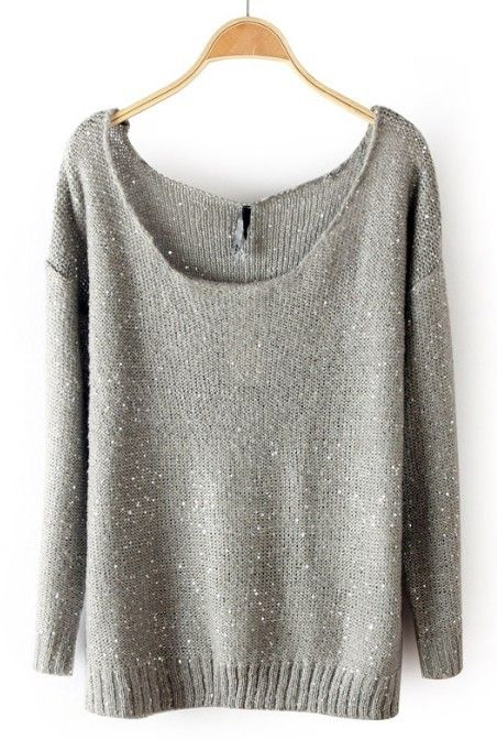 ++ Grey Long Sleeve Sequined Pullovers Sweater