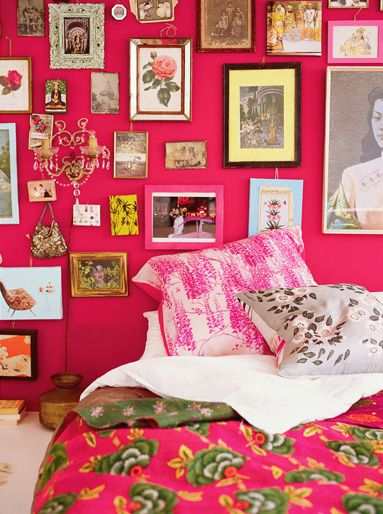 pink boho chic bedroom