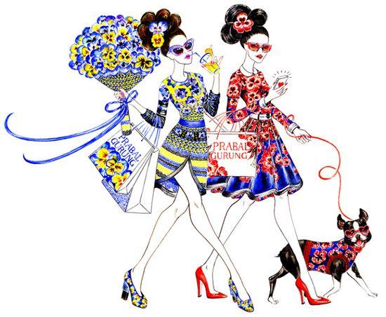paris women shopping illustration - Google Search