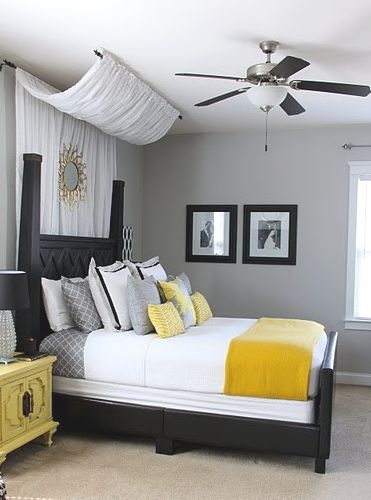 yellow & grey bedroom.