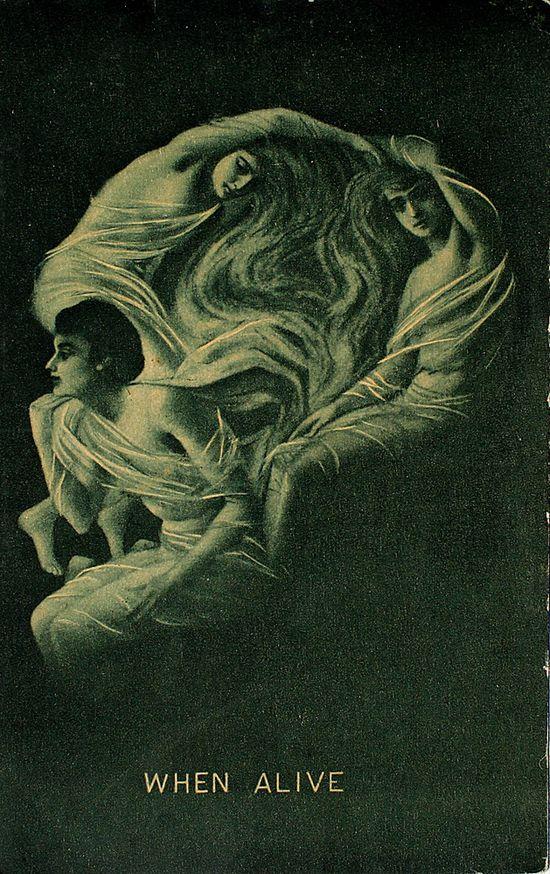 ? Old/Antique Skull Optical Illusion Postcard    Postmarked - April 8, 1910