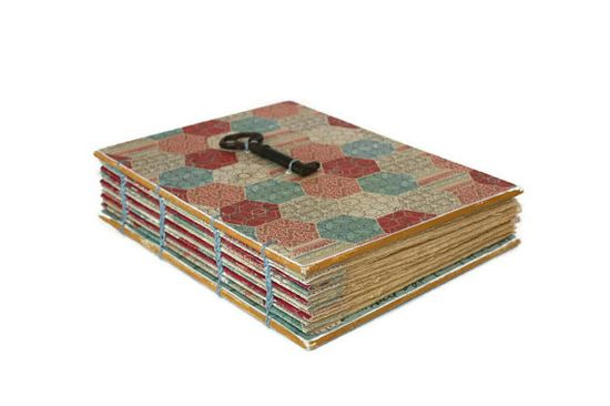 Playful Pentagon Handmade Journal with Vintage by Thenibandquill, $42.00