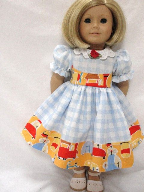 American Girl Doll Dress  Blue & White