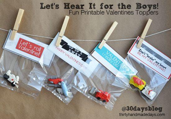 Cute Boys Valentines Ideas - Free printables by @30daysblog