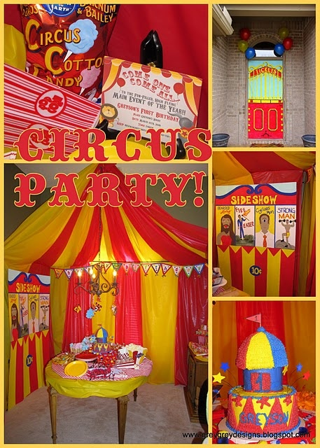 Love this ! Great idea for a school fete Create this circus tent look with Red & Yellow (or white and red) plastic tablecovers $4.50 www.24-7partypaks.... Each classroom can create a Circus Prop or Circus game - Step right up Folks !
