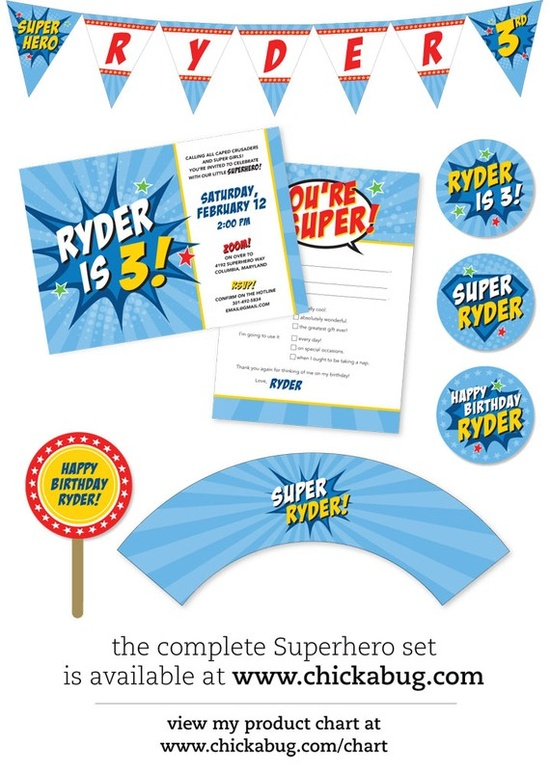 super hero printables by chickabug