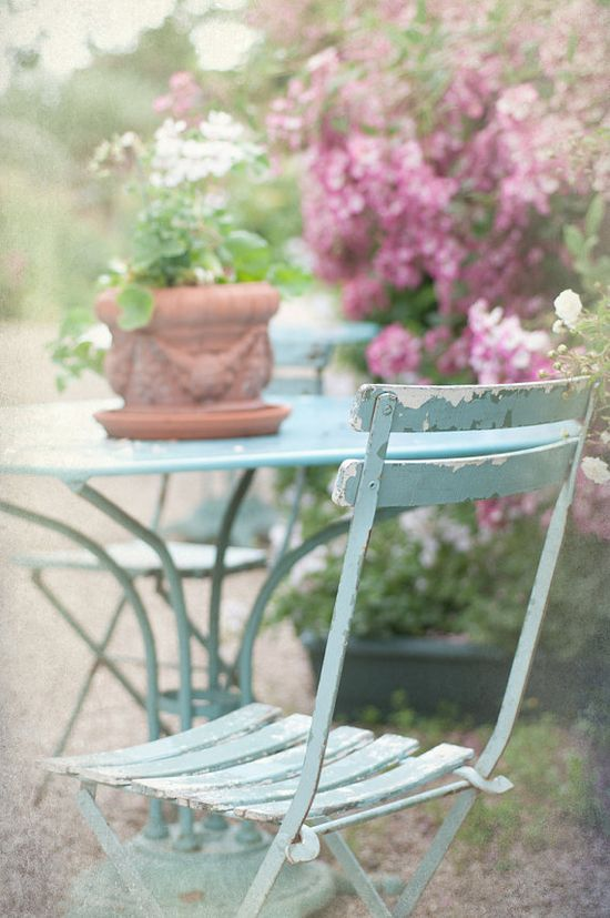 French Country Photo  Blue Bistro Chair Rose by GeorgiannaLane, $12.00