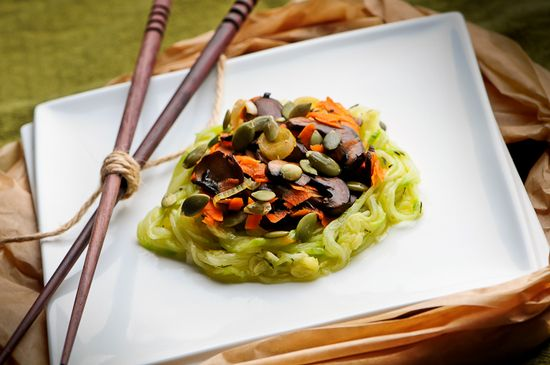 raw food recipes  marinated zucchini noodles with veg