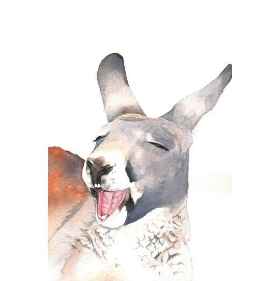 Kangaroo painting  nature wildlife art australia by Splodgepodge, $20.00