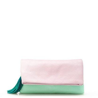 colorblock pink & green clutch