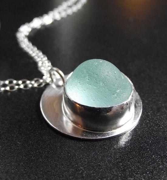 Sea Glass Genuine Aqua Blue Seaglass Jewelry by SeaFindDesigns.  via Etsy.