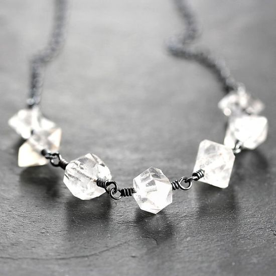 Herkimer Diamond Necklace Ice Clear Quartz by GlitzGlitter