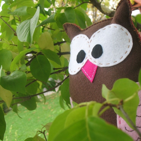 Easy Felt Stuffed Owl Hand Sewing Pattern