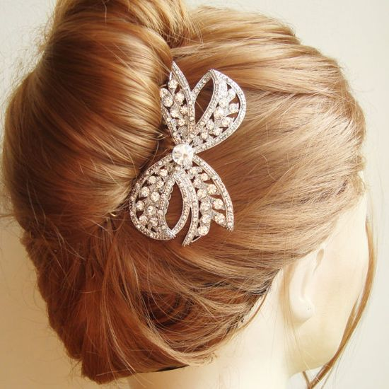 Crystal Bow Wedding Hair Comb, Vintage Bridal Hair Comb, Bridal Wedding Hair Accessory, Art Deco Hair Comb, Old Hollywood Glamour, LOLA. $78.00, via Etsy.