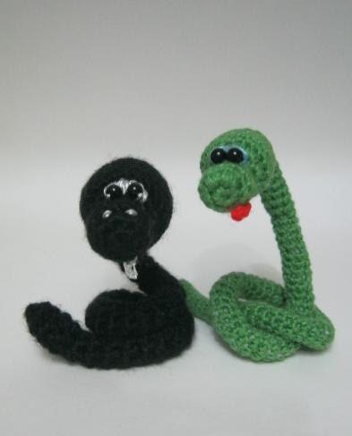 """""""Crochet Amigurumi Green Snake and   Snake  """"Blacky"""". $20.00, via Etsy."""" #Amigurumi  #crochet"""