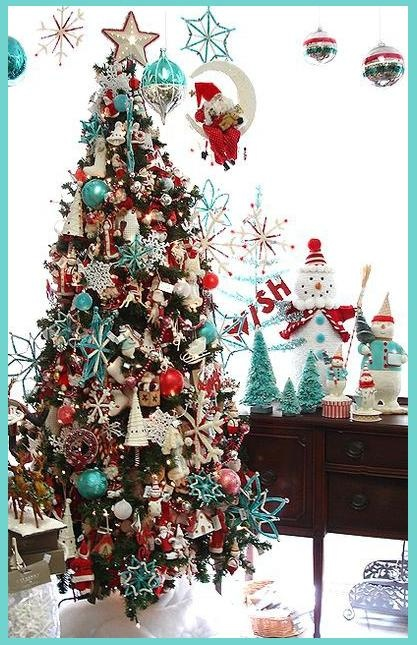Red, white and turquoise Christmas