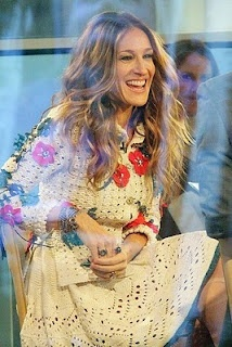 Sarah Jessica Parker wearing beautiful crochet dress