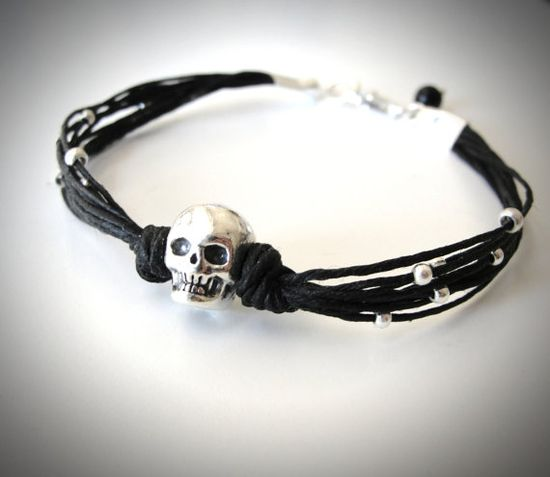 Sterling Skull and Black Linen Bracelet by JewelryByMaeBee on Etsy.