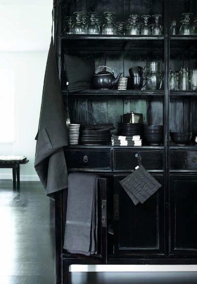 Dark glamour in a kitchen.