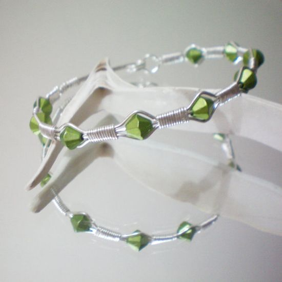 Green Wire Wrapped Bracelet #etsy #etsyfollow #green #wire #wrapped #bracelet #jewelry #silver #gift #elegant #handmade #bridesmaid $16.00