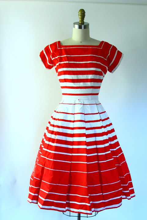 1950s red striped dress. Beautiful.