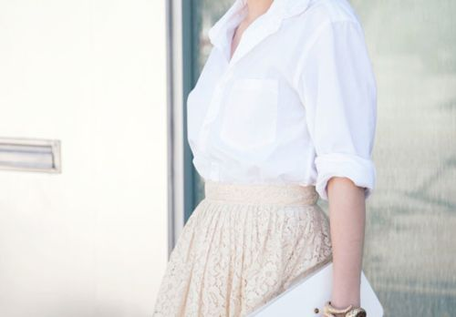 white button up lace skirt