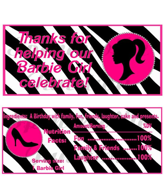 Digital Barbie Girl Candy Bar Wrappers Party Printable  DIY