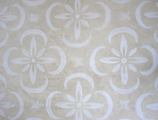 white on beige, stencilled floor ideas, painted pattern, floor design, faux finish