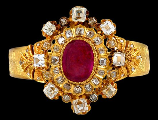 Circa 1880's Diamond & Ruby Bangle