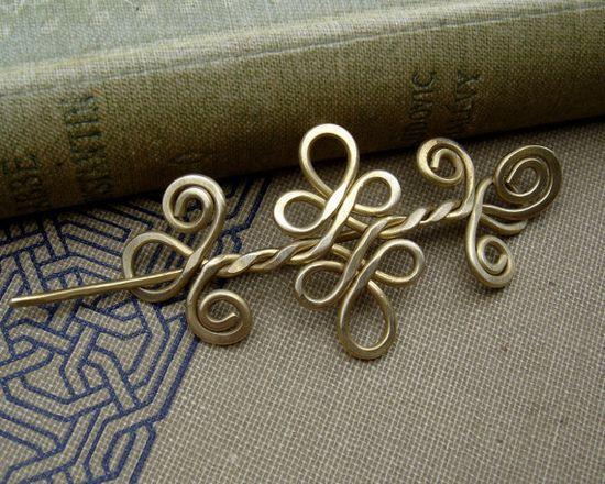 Little Celtic Shawl Pin or Brooch  Brass by nicholasandfelice, $22.00