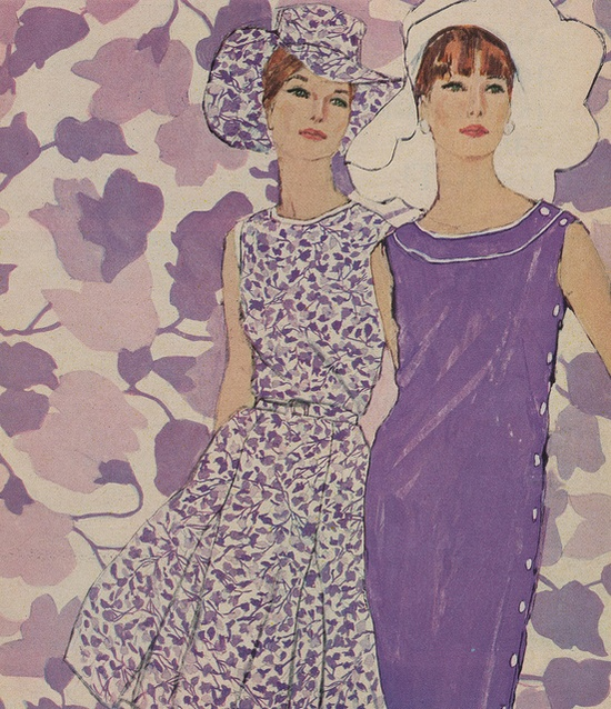 Appealingly pretty violet hued 1960s warm weather fashions. #dress #fashion #purple #vintage #retro #1960s