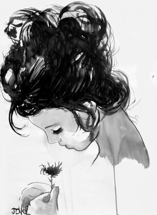 """Loui Jover; Pen and Ink, Drawing """"spring"""""""