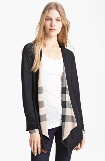 Burberry Brit Check Trim Drape Front Cardigan available at #Nordstrom