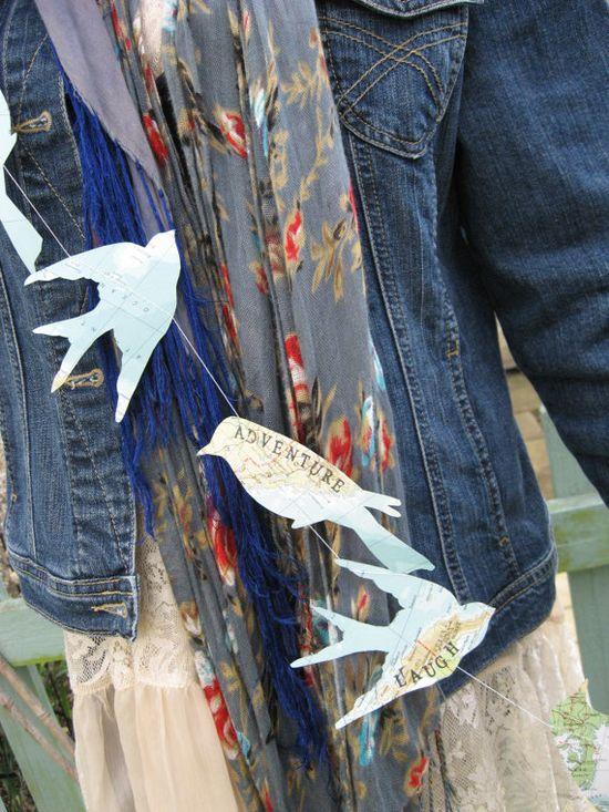 bird map garland