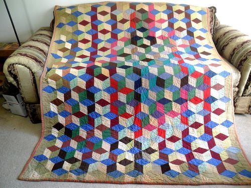 Vintage Antique Handmade Quilt Tumbling Blocks Feed Sack Depression Era 1920s