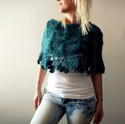 Teal Mohair Lacey Crochet Poncho