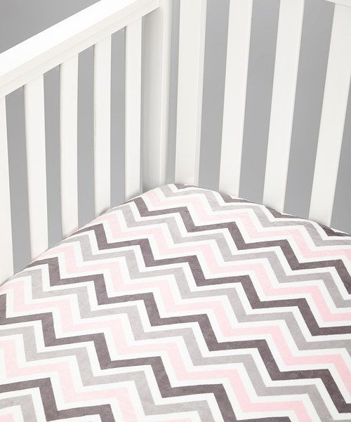 Take a look at this Lolly Gags Pink & Silver Zigzag Minky Fitted Crib Sheet on zulily today!
