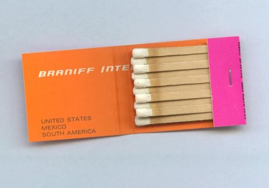 Alexander Girard-designed Braniff Matches  #midcentury #modern #orange #pink