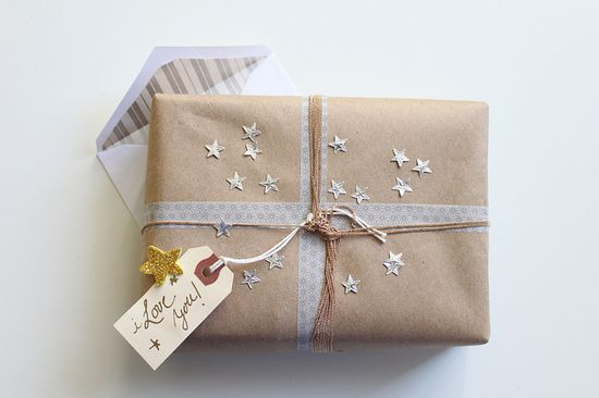 adorable silver stars on kraft paper gift wrap