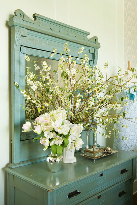 perfect blue on dresser + branches