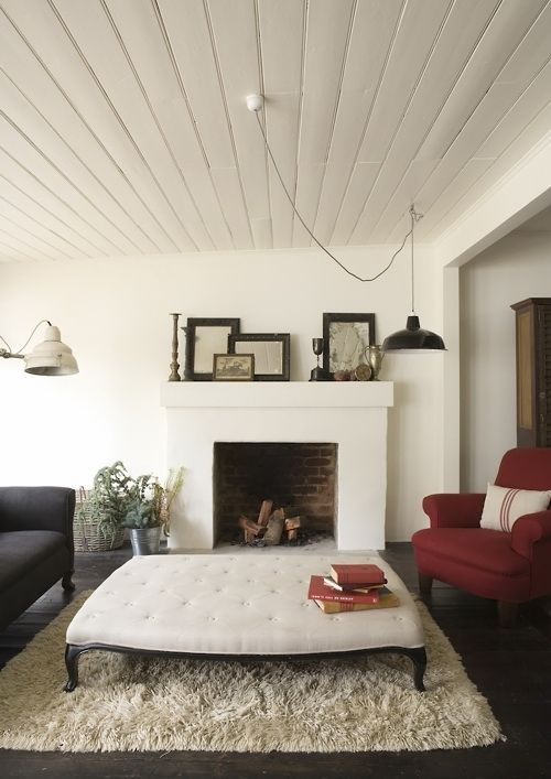 white fireplace and walls + vintage #room designs #home design ideas #home interior design 2012