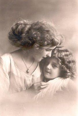 Mother and daughter, c. early 20th #pet girl #pet boy #Cute pet