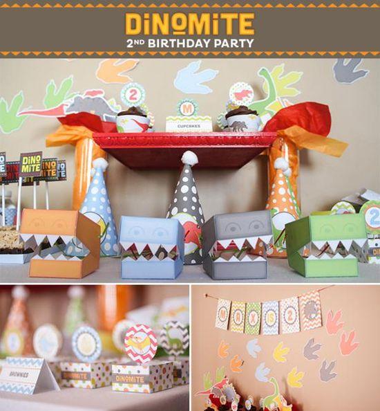 Dinosaur dinomite boy birthday party via Kara's Party Ideas karaspartyideas.com #boy #dino #dinosaur #party #ideas #cake #printables